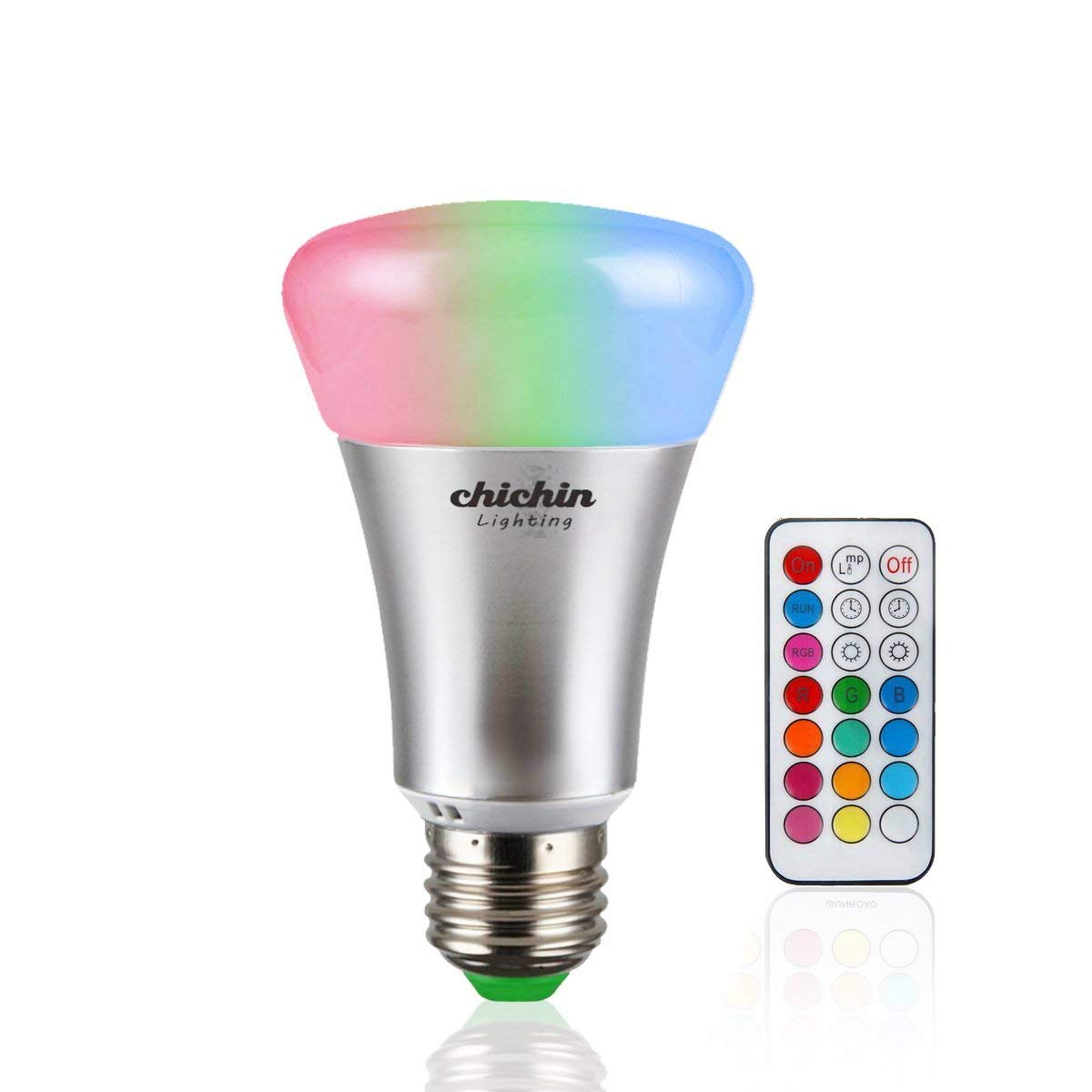 ChiChiChinLighting RGBW LED Bulb with Remote Control 2-in-1 10 Watts Color Changing LED Bulb One Button Cool White Color Changing Light Bulb with IR Remote Control, RGB+W Dimmable E26 RGB Light Bulbs