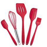 WARMWIND 5-Piece Silicone Kitchen Baking Utensil Set, Non-Stick Cooking Accessories for Baking, Slotted Spatula, Large Spatula, Small Spatula, Basting Brush, Whisk(Red)
