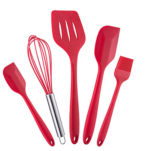 WARMWIND 5-Piece Silicone Kitchen Baking Utensil Set, Non-Stick Cooking Accessories for Baking, Slotted Spatula, Large Spatula, Small Spatula, Basting Brush, Whisk(Red) by WARMWIND