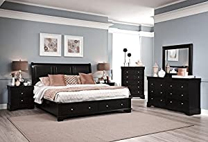 Avalon 5 Piece King Low Profile Storage Bedroom Set In Dark Java Finish