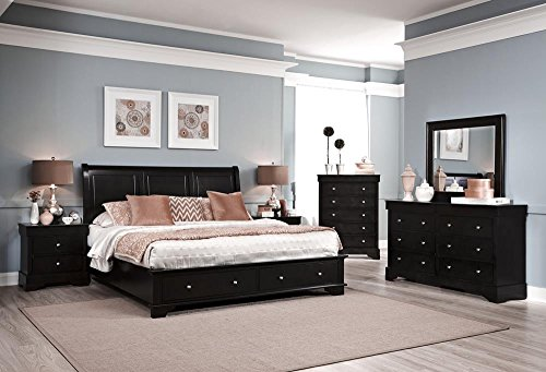 Avalon 5 Piece King Low Profile Storage Bedroom Set In Dark Java Finish For Sale Cheap
