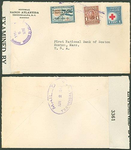 1942 WWII, HONDURAS, Censor Tape, Banco Atlantida - 1st National Bank Boston USA