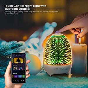 Aiscool Night Light Bluetooth Speaker Bedside Lamp Touch Control Multi Colored LED Mood Light Rechargeable Gift for Girl Boy Women Men