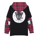 Focal20 Women Sweatshirt Cat Printed Plaid Patchwork Long Sleeve Hoodies Tracksuit Fake 2 Pieces Black