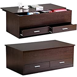 Yaheetech Slide Top Trunk Coffee Table with Storage Box & 2 Drawers, Espresso Finish