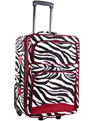 Ever Moda Red Zebra 20-inch Expandable Carry On Rolling Luggage
