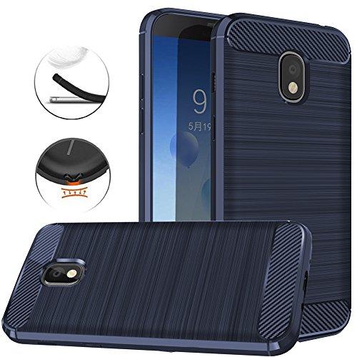 Samsung Galaxy J3 2018, J3V J3 V 3rd Gen,Express Prime 3, J3 Star, J3 Achieve, Amp Prime 3 Case, Dretal Carbon Fiber Brushed Texture Soft TPU Protective Cover (Navy)