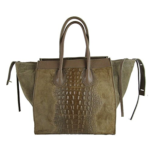 Borsa vera pelle Made in italy genuine leather FG Celin crocodile toupe