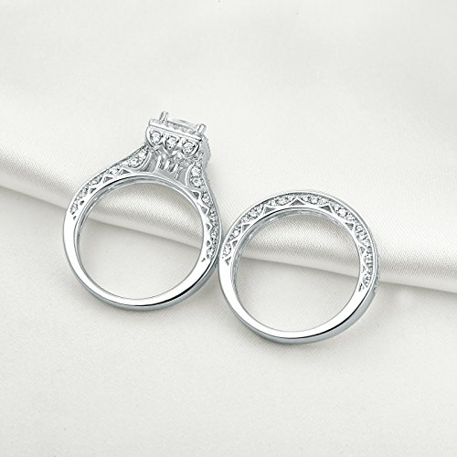 Newshe Princess White Cubic Zirconia Wedding Ring Set For Women 925 Sterling Silver Engagement Size (9) by Newshe Jewellery (Image #2)
