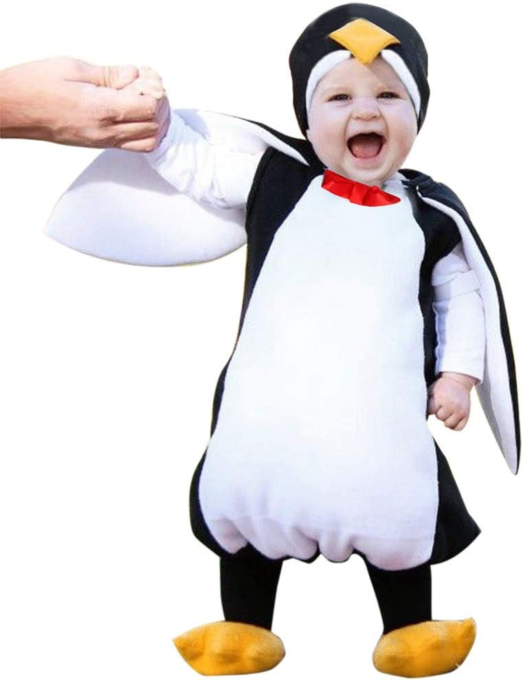 Newborn Infant Baby Boy Girl Cosplay Penguin Hooded Romper Footwear Outfit UK