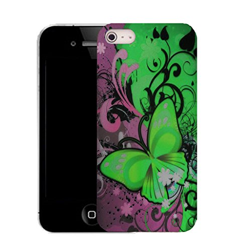 Mobile Case Mate iPhone 5c clip on Dur Coque couverture case cover avec Stylet - green dainty butterfly Motif