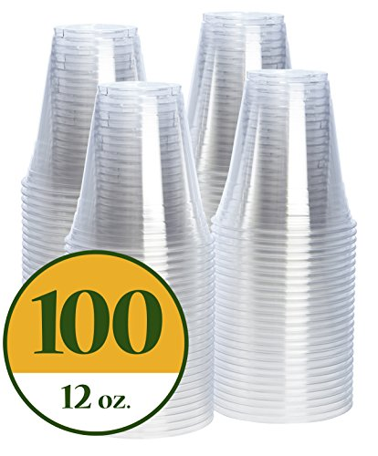 Clear Disposable Cups - 12 oz. Crystal Clear PET Plastic Cups [100 Pack]