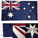 3×5 Embroidered Australia Australian 210D Sewn Nylon Flag PREMIUM Vivid Color and UV Fade BEST Garden Outdor Decor Resistant Canvas Header and polyester material FLAG For Sale