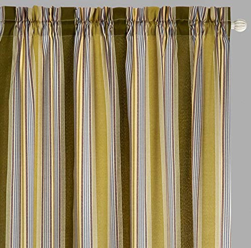 Traditions By Waverly Lover's Lane Stripe Rod-Pocket Window Drapery Curtain Panel Pair, 84