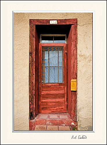 Hand Painted Rural Mailbox (16 x 20 mat including photograph of a very colorful red American Southwest door on adobe wall with yellow mailbox.)