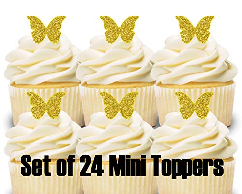 24 Mini Cupcake Toppers Gold Glitter Butterflies/Birthday Party/Cake Decorations