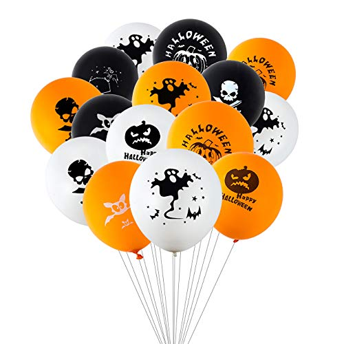 120pcs Halloween Latex Balloons 12 Inches Halloween Party Balloons for Halloween Decoration with Pattern Bat, Pumpkin, Spider, Web, Ghosts, Skull -