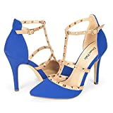 DREAM PAIRS ROCKSTAR-HIGH Women's D'Orsay Style Metal Studs Pointy Pumps Classic Stiletto Heel Shoes New Royal-Blue Size 11