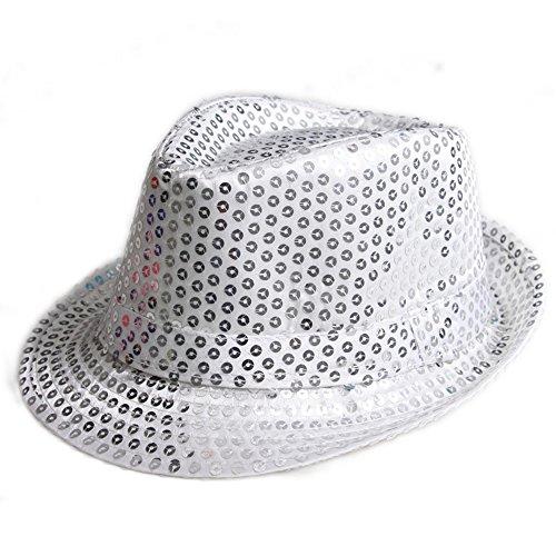[Elee Unisex Kids Sequins Trilby Fedora Cap Jazz Dancing Hat Performance Props (#1 Silver)] (Dance Fantastic Costumes)