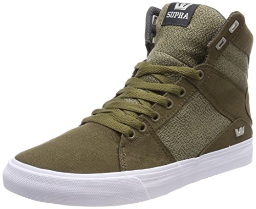 Supra Aluminum High Top Lace Up Sneaker Shoes, Olive-White, Size 8.5