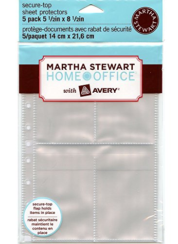 Martha Stewart Home Office with Avery® Secure-top Sheet Protectors, 5-1/2 X 8-1/2 Inch, 4-pockets, Clear, 5 Pack