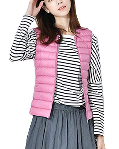 GladiolusA Women Warm Lightweight Packable Winter Collarless Vest Sleeveless Coat Jacket Pink