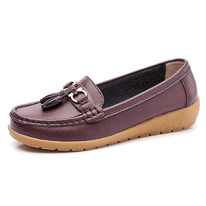 GWBoots Mujer Zapatos Cuña Cuero Soft Único Ligero Slip-On Mocasines Bajo El Talón Puntera