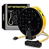 30Ft Retractable Extension Cord Reel with 3 Electrical Power Outlets - 16/3 Heavy Duty Yellow Cable - Perfect for Hanging from Your Garage Ceiling