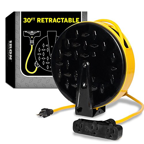 30Ft Retractable Extension Cord Reel with 3 Electrical Power Outlets - 16/3 Durable Yellow Cable - Perfect for Hanging from Your Garage - Safety Cables Retractable