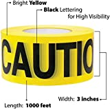 Yellow Caution Barricade Tape 3 X 1000 • Bright Yellow with a bold Black Print for High Visibility • 3 in. wide for Maximum Readability • Tear Resistant Design