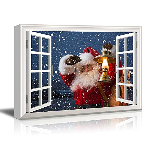 - wall26 - Canvas Print Wall Art - Window Frame Style Wall Decor - Santa Claus Carrying Gifts Coming on Christmas Eve | Giclee Print Modern Home Decor. Stretched & Ready to Hang - 24