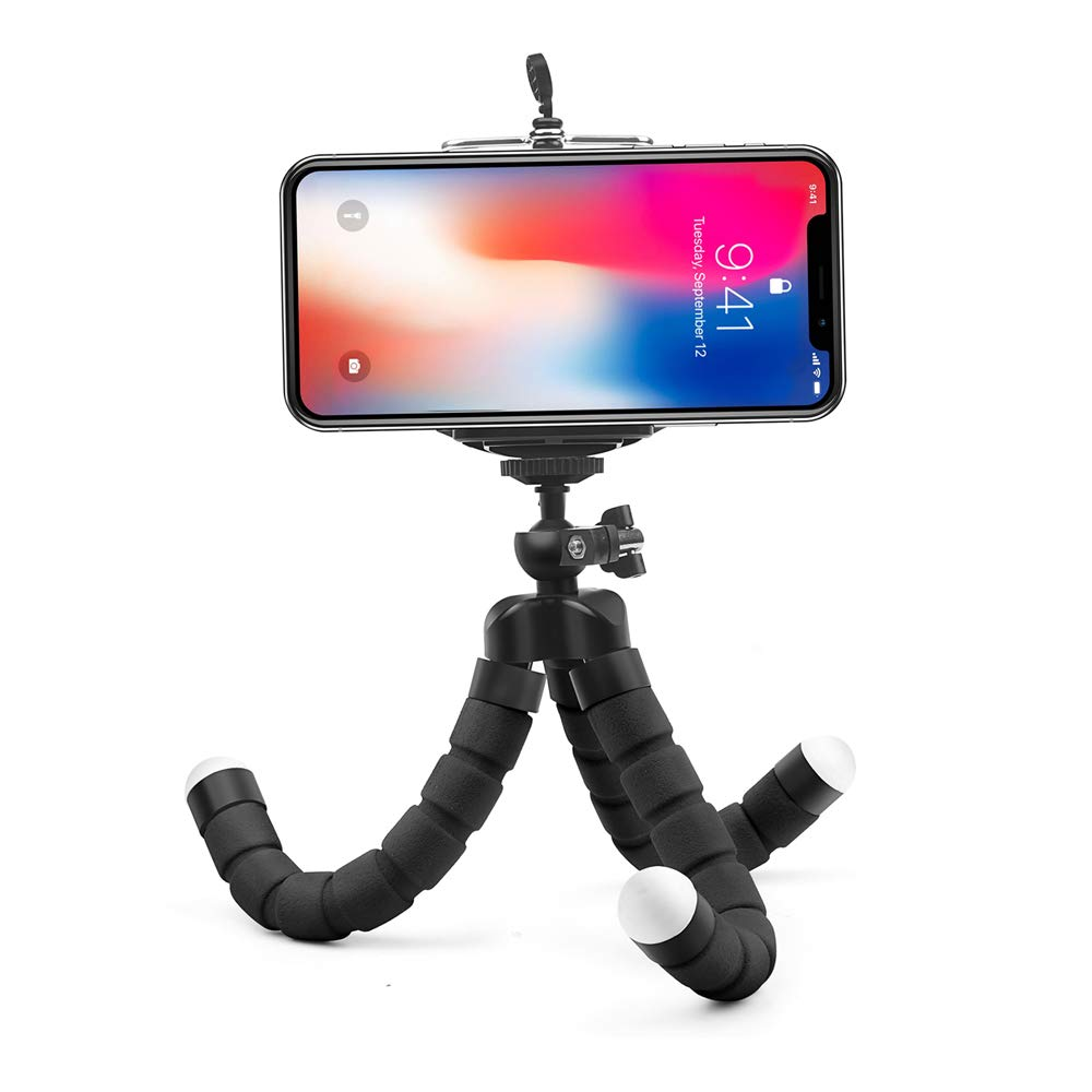 Mini Flexible Sponge Octopus Tripod for iPhone Samsung Xiaomi Huawei Mobile Phone Smartphone Tripod for Camera Accessory (Black)