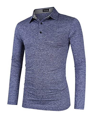 (Yong Horse Men's Casual Golf Polo Shirts Athletic T Shirt Long Sleeve L Blue )