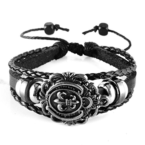 Aprilsky Jewelry Unisex Fleur De Lis Tibetan Charm Bangle Bracelet Black Leather Adjustable Bracelet 7-9inches 7 Inch Fleur De Lis
