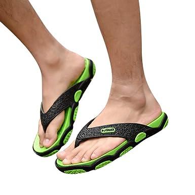 664382bd3b85 Men Summer Flip Flops Outdoor Thongs Sandals Open Toe Comfort Slippers for Beach  Bathroom Pool (