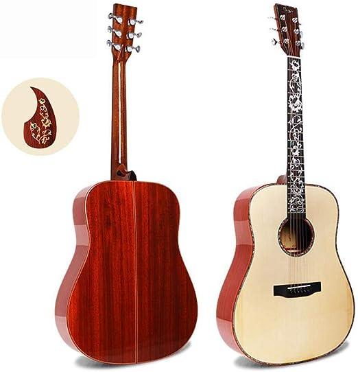 Hjyi Guitarra acústica de Madera de pera roja Sola Guitarra Hecha ...