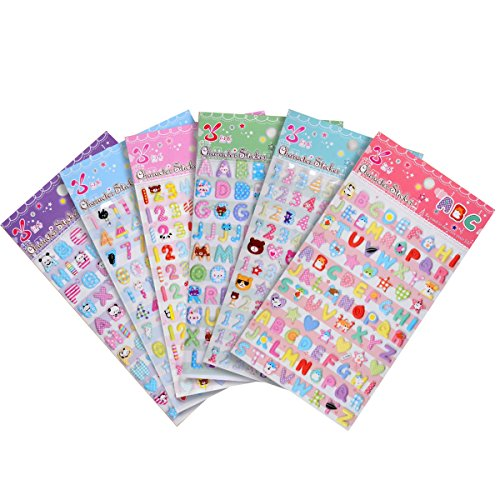 YUEAON Colorful Letter number stickers Alphabet Sticker scrapbook supplies-Self Adhesive-nearly 600 counts-small and cute- gift for kids toddlers -6sheets