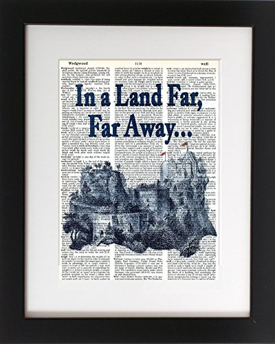 Castles – Upcycled Dictionary Art Print 8×10. – UNFRAMED – Frame and matting are for presentation purposes only to show you how they can look.