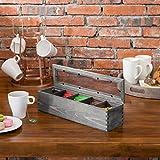 MyGift Rustic Gray Wood 5-Compartment Tea Bag Box