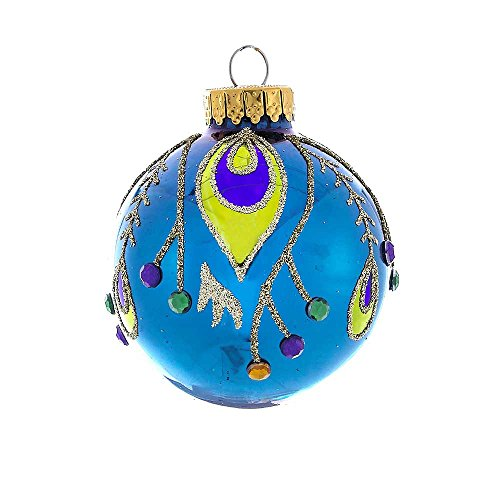 - Kurt Adler 60mm Glass Peacock Design Ball Ornament Set of 4