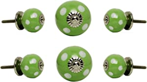 Trinca Ferro Set of 6 Cabinet Knobs Ceramic Round Drawer Cupboard Vanity Dresser Pull Small White Spots on Green Chrome Finish
