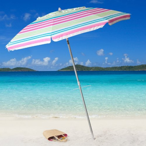 Bayside21 – 7ft Pink Stripe Beach Umbrella