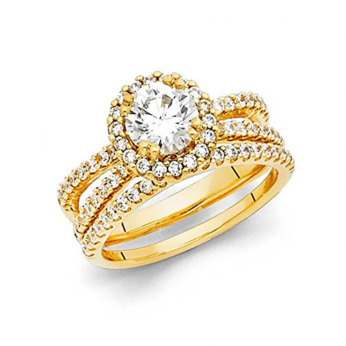 (14k Yellow Gold Round Brilliant Cut CZ Halo Engagement Wedding Ring Set with Pave Side Stones)