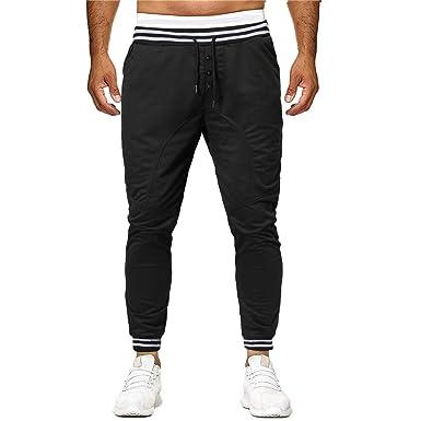 Pantalones Hombre Chandal, YiYLunneo Costura Casual De Bolsillo ...