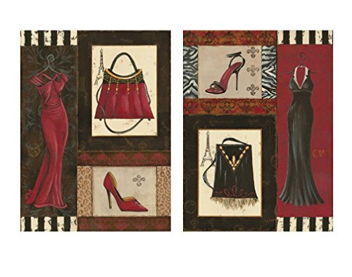 Fashion Collage; Purse, Shoe, Dress Retro Prints; Two 11x14 Posters (Heel Purse)