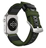 MoKo Apple Watch Series 3 Band, Soft Canvas Fabric Replacement Leather Sports Strap + Watch Lugs for iWatch 42mm 2017 series 3 / 2 / 1, Army Green (Not fit 38mm Versions)