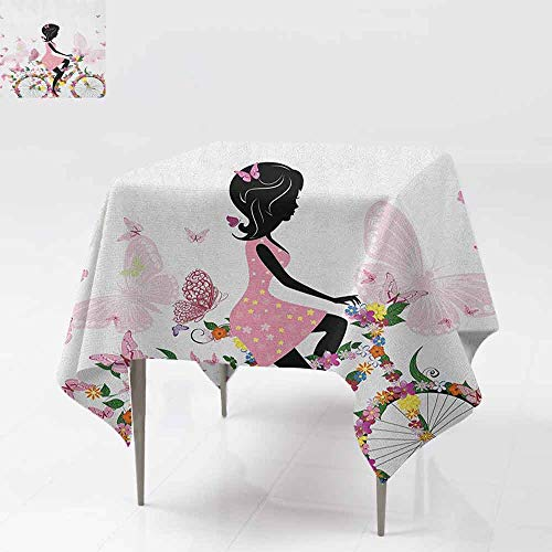 AndyTours Stain Square Tablecloth,Bicycle,Girl in a Pink Dress Riding a Bike with Colorful Flowers and Romantic Butterflies,High-end Durable Creative Home,60x60 Inch -