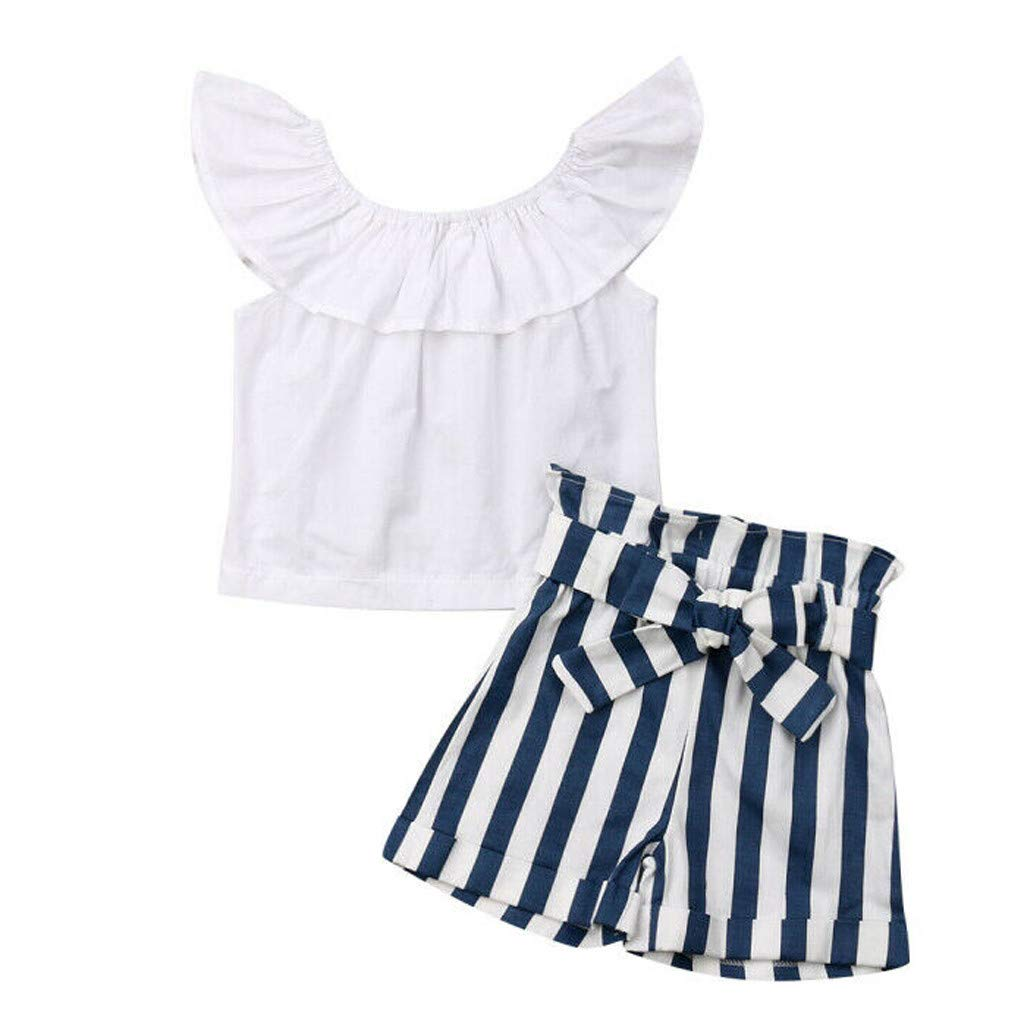 Baby Girl Off-Shoulder Sets, Kids Crop Top Ruffle Shirt Tops +Leopard Striped Shorts Pants Clothes Set (2-3 Years, Blue)