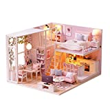 Enjoyall Miniature Dollhouse Kit with Lights and Furnitures Decorations, DIY House Craft Kits Best Gifts for Boys and Girls