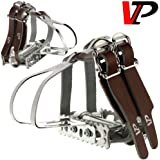 VP Track Fixie Bike Pedals Toe Clips and Leather Straps by VP Components
